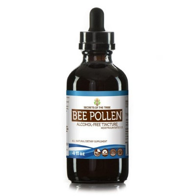 Secrets Of The Tribe Bee Pollen Tincture Alcohol-FREE Extract, Organic Bee Pollen (Bee Pollen) Dried Pollen 4 oz