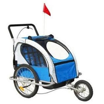 Aosom Elite 2in1 Double Child Bike Trailer / Jogger - Blue / Gray