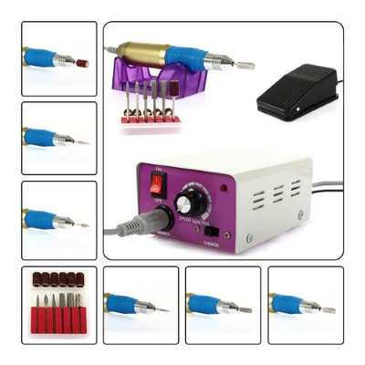 Besmall Electric Nail Drill Machine Gel Nail Polish with Foot Pedal Manicure Pedicure File Acrylic Kit Set Bits Nail Care