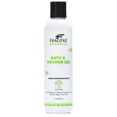 FRAGFRE Organic Shower Gel - Fragrance Free Sulfate Free Parabens Free - for Itchy Dry Sensitive Skins - 8 oz - Gluten Free Vegan Cruelty Free - Organic Aloe Vera Bath Shower Gel - pure Natural