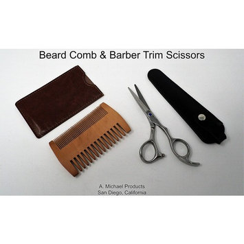 Beard and Mustache Comb & Scissors with Leather Pouch & Sleeve–Hardwood Double Sided Comb-Razor Sharp Barber Quality Scissors-Men's Facial Hair Trimming, Grooming, Cutting-Logo Free