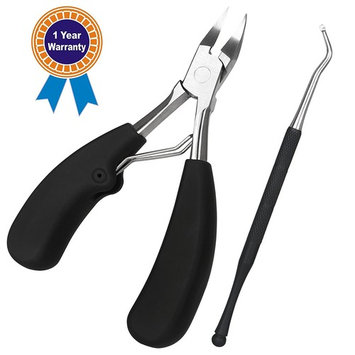 Toenail Clippers Kit, Solofish Stainless Steel Ingrown Nail Clippers and Cuticle Nipper Nail Lifter with Rubber Handle ( All Set, 2pcs)