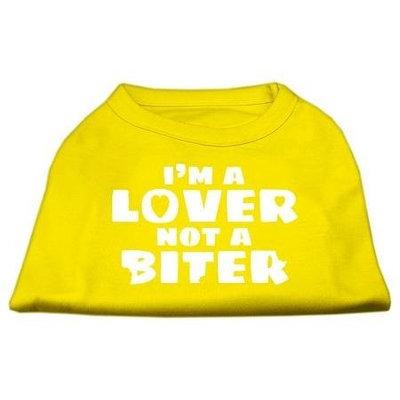 Ahi I'm a Lover not a Biter Screen Printed Dog Shirt Yellow Lg (14)