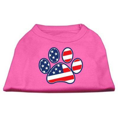 Mirage Pet Products 511701 LGBPK Patriotic Paw Screen Print Shirts Bright Pink L 14