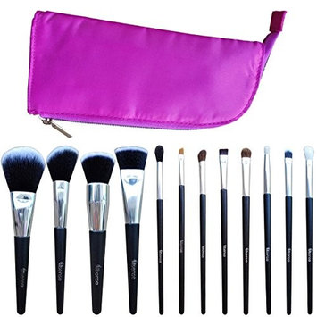 Allsense 12Pcs Makeup Brush Set Foundation Contour Blending Eyeshadow Concealer brush with Hot Pink Cosmetic Bag