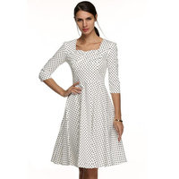 Elegant Women Sexy Lady Dress Square Neck 3/4 Sleeve High Waist Dots Print Vintage Party Dress