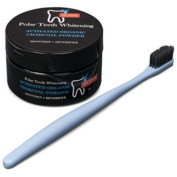 Polar Teeth Whitening Charcoal Powder with Free Charcoal Toothbrush - Organic Activated Coconut Charcoal - Whitens Teeth, Freshens Breath, Detoxes Naturally- Gluten Free, Vegan, Kosher