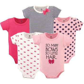 Hudson Baby Newborn Baby Girls' Bodysuit 5-Pack, Choose Your Color & Size