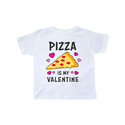 Pizza is My Valentine with Hearts Toddler T-Shirt [baby_clothing_size: baby_clothing_size-4t]
