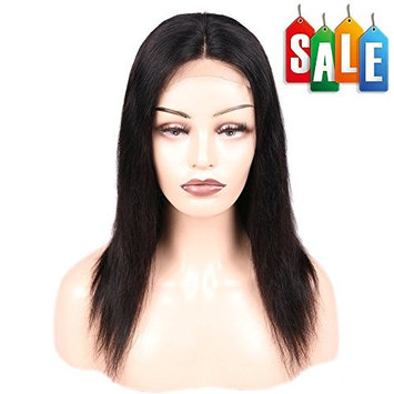 FAVE Straight Human Hair Lace Part Wigs within 4x4 Lace Closure for Women 130% Density Natural Color (12 Inch)