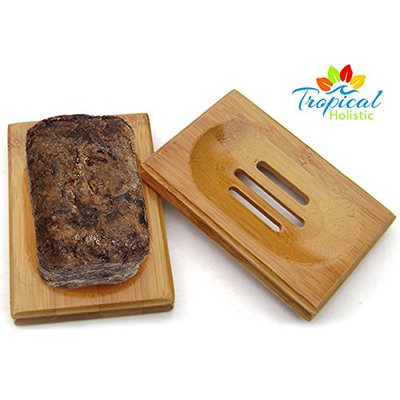 African Black Soap 100% Raw Natural 8oz Bar Made in West Africa + Bonus Bamboo Soap Dish. Contains Coconut, Plantain, Shea Butter & Palm Oil For Soothing Comfort & Exceptional Beauty