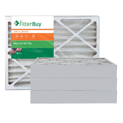 AFB Bronze MERV 6 21x21x4 Pleated AC Furnace Air Filter. Filters. 100% produced in the USA. (Pack of 4)