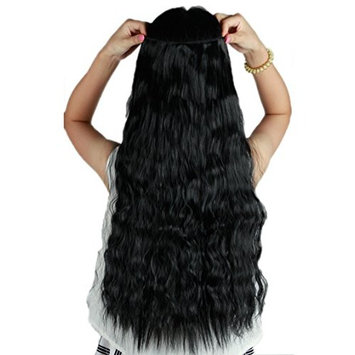 Long Hair Dark Black 22 Inches 55cm Corn Wave Curly/wavy 5clips One Piece Hairpiece Clip in Hair Extensions (3/4 Full Head) Clip Ins Hairpiece for Women Lady Girl