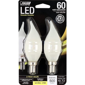 Feit Electric 7610488 6 Watt Equivalent Frost Dimmable Chandelier Flame Tip Candelabra Base LED Light Bulb