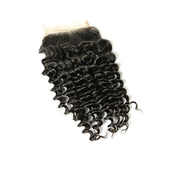 Moreyoungc Hair 8A Brazilian Virgin Hair Curly Wave Lace Closure Human Hair Bleached Knot 4x4 Top Lace Closure Natural Color (14