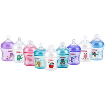 Luv N' Care, Ltd. Nuby Natural Touch Tinted 3pk 6oz Bottles with Slow Flow Nipple, with Printed Pacifier, Colors May Vary
