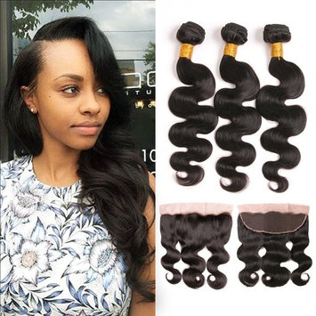 Brazilian Body Wave Bundles With Frontal 4X13 Silk Lace Free Part 100 Mink Virgin Hair Weave Ear To Ear Human Hair Closure Natural Color 18 20 22 + 16 Inch Prime
