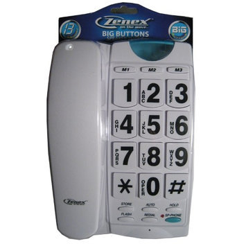 Zenex Phone Large Telephone Speaker Big Button Telephone White Vintage Style Gift Fun