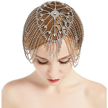 BABEYOND Vintage Style Roaring 20s Crystal Rhinestone Flapper Cap Headpiece (G