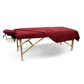 BodyChoice 3-Pc Poly-Cotton Sheet Set for Massage Table - Burgundy