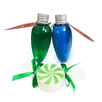 Christmas Holiday Bath Gift Set of 3 - Shower Gel, Bath Salts & Candy Soap