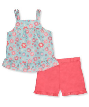 Park Bench Kids Little Girls' Toddler 2-Piece Outfit (Sizes 2T - 4T) - coral/multi, 3t