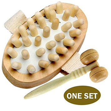 AnHua® Cellulite Massager Body Brush Mitt - Free Face Massager and Cosmetic Bag - Best Anti Cellulite Remover - Great Dry Body Brush for Your Smoother Tighten Skin