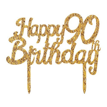 Gold Glitter Acrylic Happy Birthday 90th Cake Toppers,Party decor Decorations(6.2-inch)