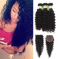 Sofeel Hair 3 Bundles with Closure Brazilian Deep Curly with Closure 8A Unprocessed Brazilian Human Hair Extensions Deep Wave Bundles with Lace Closure...