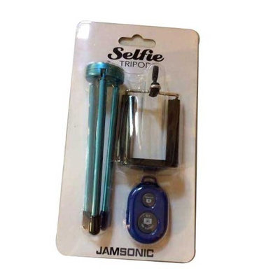 Jamsonic Bluetooth tripod Selfie Stick BLUE (with independently movable legs)
