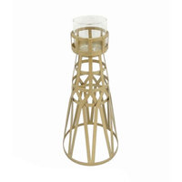 Benzara Round Glass And Metal Candle Holder, Gold