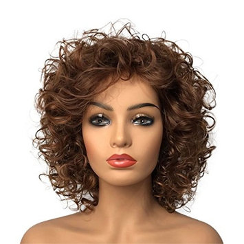 Wiginway Women Wigs Medium Curly Brown Wigs Synthetic Wig Hair Replacement Rapunzel Wigs For Women 8 Inch