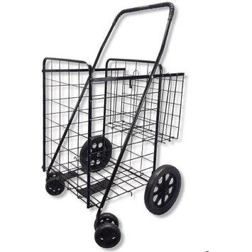 Unik Imports Swivel Jumbo Folding Shopping Grocery laundry Cart Extra 360 Rotating Front Wheels, Black - Double