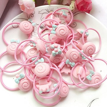 24Pieces Cute Cartoon Baby Girls Kids Children Little Princess Ball Hair Tie Bands Ropes Ponytail Holder Elastics, Pink Color,Candy Shape
