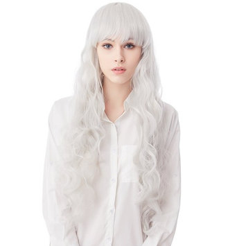 32 Inches Silver Long Big Wavy Cosplay Synthetic Hair Wigs for Women