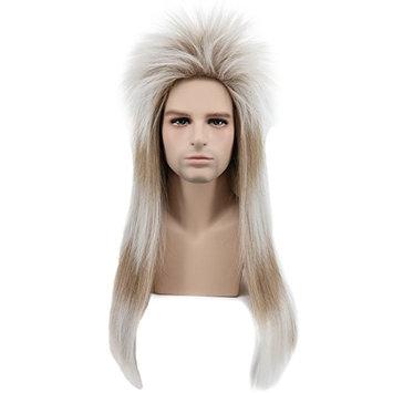 Karlery Men Long Straight Gradient 80's Rock Mullet Heavy Metal Wig Halloween Costume Cosplay Wig