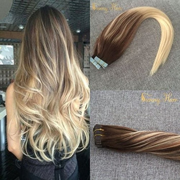 Sunny 16inch Balayage Tape In Hair Extensions Dark Golden Blonde Ombre Platium Blonde Real Straight Human Hair Skin Weft Extensions 20pcs 50g/pack [#14/60, 16