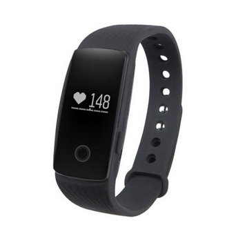 TechComm YX107 Fitness Activity Tracker with Heart Rate Monitor, Bluetooth, Call and Text Notifications, Pedometer, Sedentary Reminder, Sleep Monitor, Anti-Lost Alarm and Remote Camera - Black