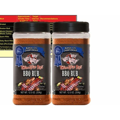 Three Little Pigs Kansas City Championship BBQ Rub Large 12.5 oz (2 Pack) Bundle with Free Bonus Miniature Meat Smoking Guide Magnet