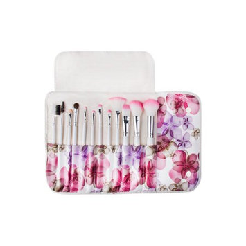 Zoe Ayla Professsional 12 Piece Floral Make-Up Brush Set with Vegan Leather Travel Case - Pink Floral