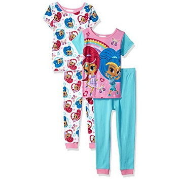 Nickelodeon Little Girls' Shimmer and Shine 4-Piece Pajama Set, Genie Green, 4