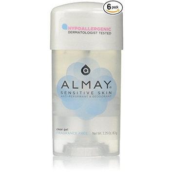 Almay Sensitive Skin Clear Gel Anti-Perspirant & Deodorant - Fragrance Free 65 ml (Pack of 6) by Almay
