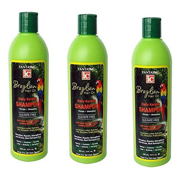 [ VALUE PACK OF 3] FANTASIA IC BRAZILIAN DAILY KERATIN SHAMPOO SULFATE FREE 12oz : Beauty