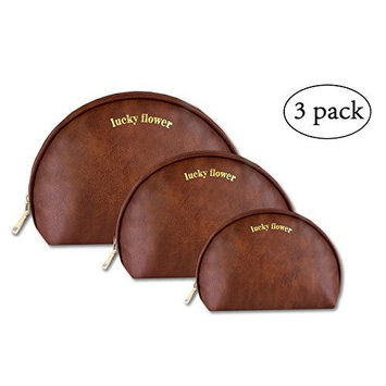 LUCKY FLOWER Makeup Bag Set of 3 Leather Portable Travel Toiletry Bag (Brown)