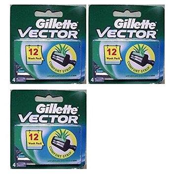 Vector Plus Refill Razor Blades 4 ct. (Pack of 3) + FREE LA Cross 71817 Tweezer
