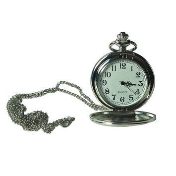 podofo Antique Silver Quartz Pocket Watch Necklace + Stainless Chain Valentine Gifts Women Men