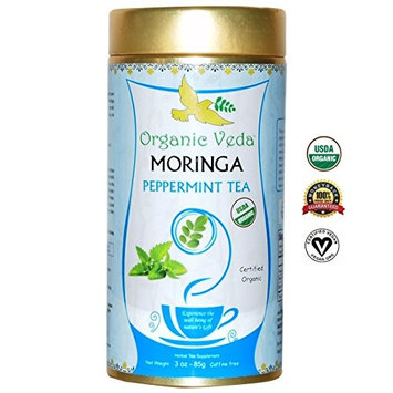 USDA Certified Organic Moringa Peppermint Loose Tea. No Artificial Flavors or Preservatives. NON-GMO and Gluten Free. [Peppermint]