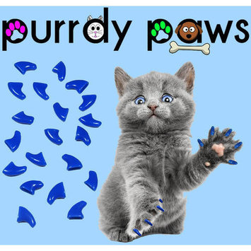 Purrdy Paws Soft Nail Caps for Cats, 40-Pack, Blue Large