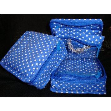Cosmetic Organizer Jewelry Organizer Travel Pouch in Beautiful Blue Polka Dot Design Made with Quilted Cotton