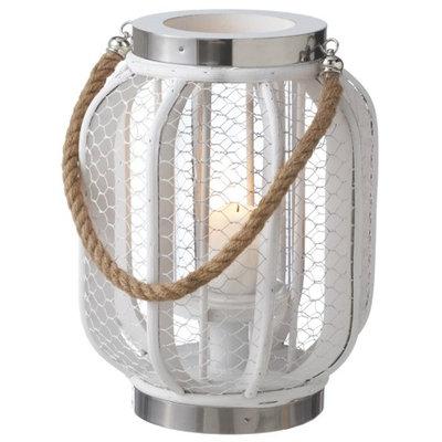 Coastal White 9 Inch Wood Lantern Pillar Candle Holder Midwest CBK